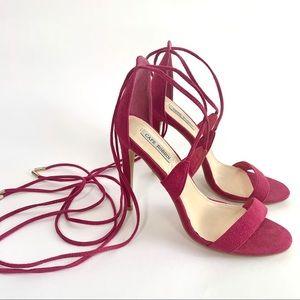 Cape Robbin Pink Stiletto Heels w Suede Ankle Ties